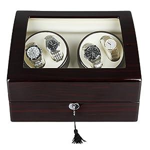Excelvan Uhrenbeweger für 4 Uhren Uhrenvitrine Uhrenbox Rectangle Mute Automatische Uhrenbeweger Watch Winder mit Lock (4+6)