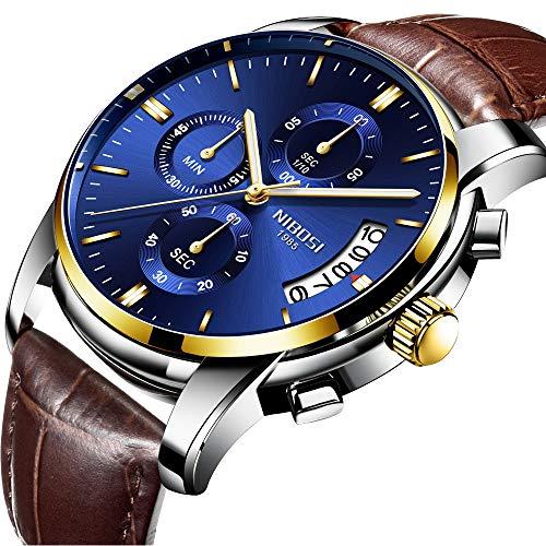 Herren Sport Quarzuhr Mode Casual Armbanduhr Herren Chronograph Wasserdicht Armbanduhr mit Datumsanzeige Blau