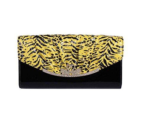 Bag Nuova Catena Nuova Pelle Verniciata Busta Raccoglitore Della Signora Mano Yellow
