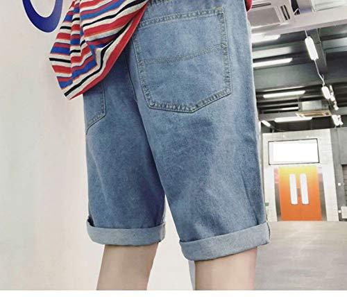 Kshu pantaloncini di jeans estivi pantaloncini retrò casual da uomo pantaloncini di jeans larghi in denim cinque pantaloni corti da spiaggia, 28, blu chiaro