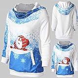 VEMOW Heißer Elegante Damen Frauen Frohe Weihnachten Weihnachtsmann Print Skew Kragen Casual Daily Party Freizeit Sweatshirt Bluse(Y2-Blau, EU-34/CN-M) Test