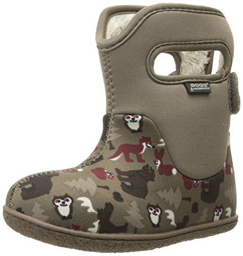 Bogs BOYS BABY WOODLAND BROWN NAVY INSULATED WASHABLE WARM WELLIES BOOTS 71864-Brown-UK 3 (EU 20)