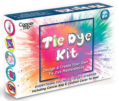 Copper Top Tie Dye Kit Kids Love. Entwerfen und Machen Sie Ihre eigenen Batik-Modi. Inklusive: einfarbiger Kissenbezug und Leinenbeutel zum Dekorieren, Stofffarbe, 3 Anleitungen, Techniken und Tipps (Dekorieren Sie Einen Kissenbezug)