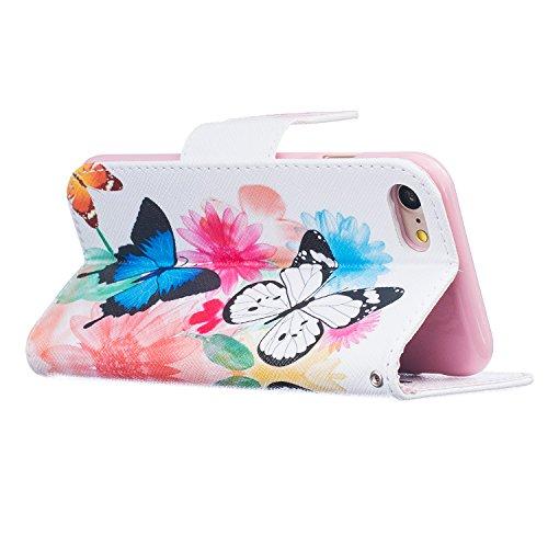 iPhone 7 Hülle,iPhone 7 Ledertasche Handyhülle Brieftasche im BookStyle,SainCat PU Leder Hülle Wallet Case Folio Schutzhülle Karikatur Muster [Ballon-Bär] Lederhülle Scratch Bumper Handytasche Backcov Zwei Schmetterlinge