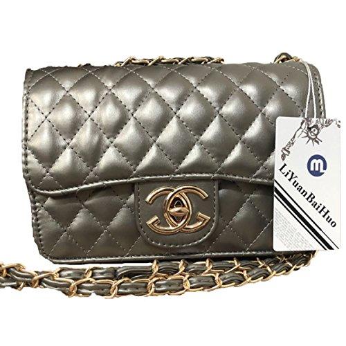 Handtaschen Messenger Bag Lingge Kette Paket Schulter Mode Mini Tasche,Silver-OneSize