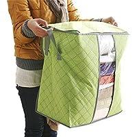 Caja de lona plegable para almacenamiento, Venta caliente caja de almacenamiento portátil organizador no tejida bolsa de almacenamiento LMMVP (Verde, 48*30*50cm)