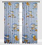 Kinder Vorhänge für Kinderzimmer 100% Baumwolle, 155 x 155 cm (blaue Teddybären auf Leitern)