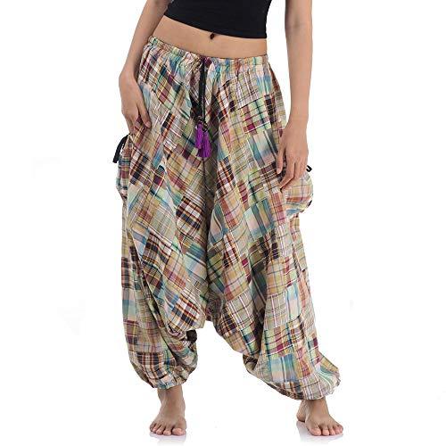 (Weite patchwork Hippie Hose Haremshose Aladinhose Pumphose für Damen & Herren 36 38 40 42 S M)