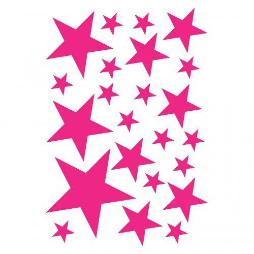 Wandtattoo Sterne Set 'gefüllt' 14x2,5cm6x5cm2x7,5cm1x10cm pink