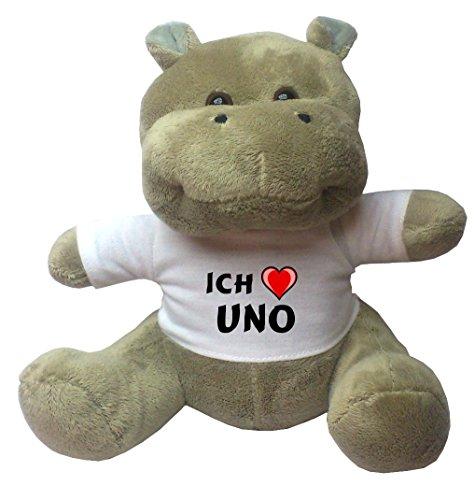 Nilpferd Plüschtier mit Ich liebe Uno T-Shirt (Vorname/Zuname/Spitzname)