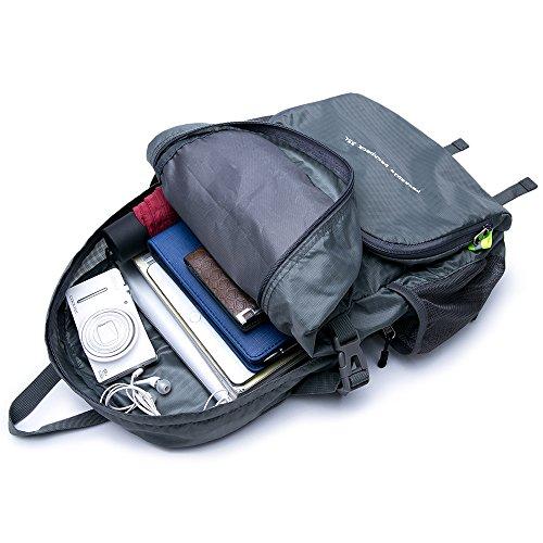 Bonamana Faltbarer Beutel-verpackbarer Rucksack-wasserdichte große Kapazität-leichte haltbare Spielraum-Beutel, der Rucksack-Tagesrucksack wandert Grau