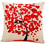 Fami Fleur Arbre Taie Canapé taille Throw Coussin Home Decor (rouge)