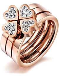 """bigsoho Fashion Stainless Steel Rose Gold Plated love hearts w/ rhinestone 3 rings together became """"Lucky Clover"""" Beauty Women/Girls Ring Size J 1/2 L 1/2 N 1/2 P 1/2 R 1/2"""