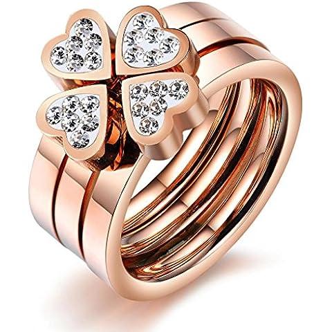 Stayoung Jewellery Encanto Anillos Mujer Acero Inoxidable Trébol de cuatro hojas Corazón Anillos Triples, Oro rosa, 6 Tallas de anillo