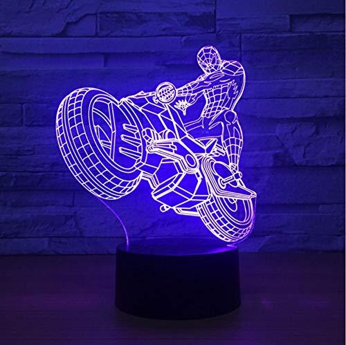 Veilleuse Saint Valentin Décor À La Maison Salon Gradient Éclairage 3D Spider Man Modélisation Led Créatif Moto Veilleuse Atmosphère Coloré Lampe De Bureau