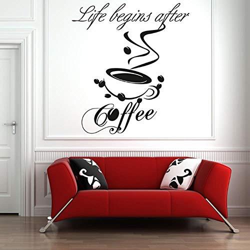 BMBM Kaffee Wandtattoo Gute Kaffee Freunde Zitieren Tasse Tee Küche Wort Vinyl Aufkleber Decals Dekoration Restaurant Restaurant 42 * 47 cm (Kaffee-tassen Grüner Berg)