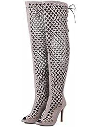 Los grandes astilleros de la rodilla botas zapatos cool hueco largo zapata canister talones,gris,42