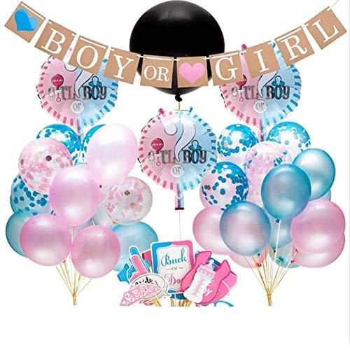 Danolt Junge und Mädchen Luftballons, 51 Pcs Geschlecht offenbaren Partyausrüstung Luftballons mit Konfetti - neugeborenes Foto Banner Stand Requisiten - Dekoration für Baby-Dusche Geburtstagsparty
