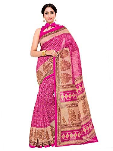 Kupinda patola Print Art Silk saree Color:Pink (4233-TK-07-MEJ-TUS)