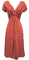 New Ladies Blue Deco Polka Dot Vtg Retro WW2 Landgirl 1940s/50s Pin-up Tea Dress