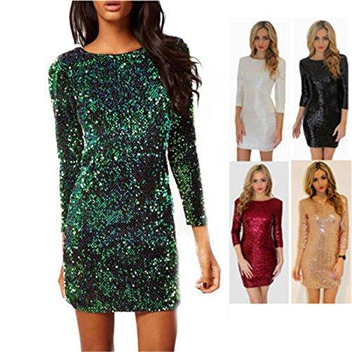 BAINASIQI Damen Sexy Paillettenkleid Minikleid Kurz Cocktailkleid Partykleid Abendkleid mit Rückenfrei V-Ausschnitt Design (Grün, S) - 3