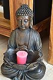 Maison en France Buddha für Haus und Garten - hübscher Buddha mit großer Schale, Höhe 30 cm, sehr stabil, witterungsbeständig