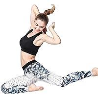 Hukangyu1231 Pantalones de Yoga de Bolsillo de Cintura Alta. Ej Pantalones de Yoga elásticos Ajustados Pantalones de Danza Estampados Femeninos (tamaño : Metro)