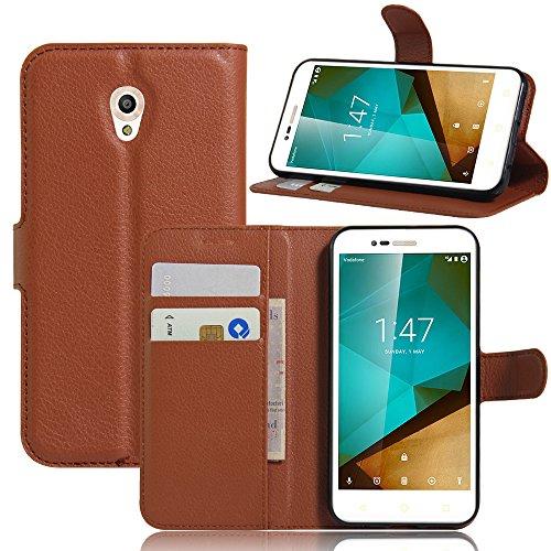 JARNING Vodafone Smart Prime 7/ Style 7 /VFD600 Fundas de PU Cuero Flip Leather Wallet Case Cover Carcasa Funda con Ranura de Tarjeta Cierre Magnético Kikstand -marrón