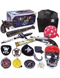PHYNEDI Niños Pirata de Juguete con Accesorios Infantiles Juguetes Kit Pirate con Catalejo, Mapa del