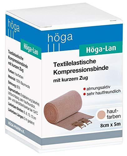 Höga Lan, Textilelastische Kompressionsbinde mit kurzem Zug - 8 cm x 5 m gedehnt - sehr hautfreundlich, atmungsaktiv, elastisch waschbar