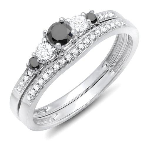 DazzlingRock Collection  -  10 K  Weißgold Rundschliff   Getöntes Weiß/Top Cape (K) schwarz Diamant Schwarzer Diamant  (10k Weißes Gold Schwarzer Diamant Ring)