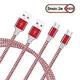 GlobaLink® Micro USB Kabel Ladekabel Reflektierendes Nylon für Android Smartphones, Samsung Galaxy, HTC, Huawei, Sony, Nexus, Nokia, Kindle und mehr (Rot, 2m)