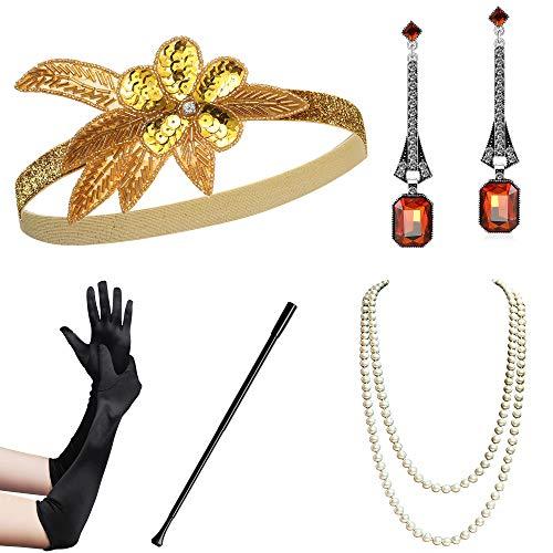 Mann Mafia Kostüm - Coucoland 1920s Accessoires Set Damen Gatsby Kostüm Zubehör Set inklusive Stirnband Halskette Handschuhe Ohrringe Zigarettenhalter (Set-1)