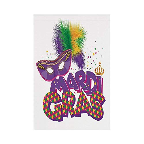 y Manual Custom Garden Flag Demonstration Flag Game Flag,Mardi Gras,Traditional Holiday Theme Colorful Fluffy Feathers Mask Crown Symbol Decorative,Purple Hot Pink Greeno décor ()