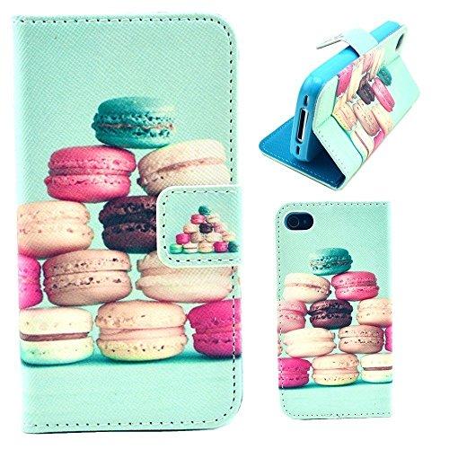 HUANGTAOLI Custodia in Pelle Flip Case Cover per Apple iPhone 4/4S Pellicola Protettiva Schermo & Stylus (LOVE) C110