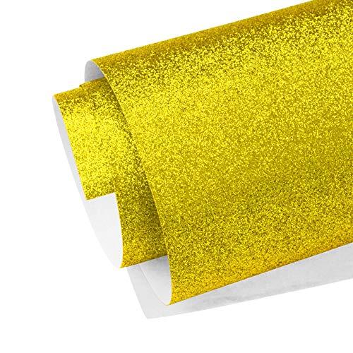 KULTLOGGEN Glitzer Papier Gold Glänzend Glitzerpapier Bastelpapier Glitter Geschenkpapier Faltpapier Rolle Sparkling für Fotografie Hintergrund DIY Handwerk (785 x 545 mm)