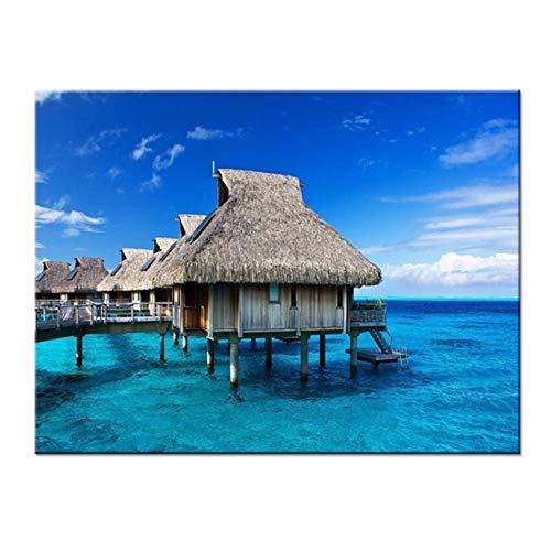 Juabc Kunst Dekoration Hd Gedruckt Leinwand Bilder Frameless 1 Panel Blau Meer Tropischen Ozean Insel Hütte Poster Home Wandkunst Dekorative 60X90 cm
