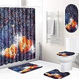 GLONG 5-teiliges Badezimmer-Duschvorhang-Set, Rutschfester Teppich mit Toilettenpapierdeckel und Badematte,C,L