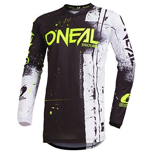 O\'Neal Element Shred Kinder Motocross Jersey MTB Mountain Bike Fahrrad Enduro FR DH Trikot, 002E-Youth, Farbe Schwarz, Größe XL
