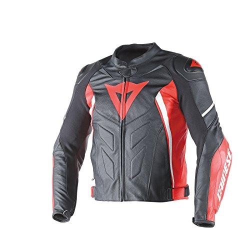 Dainese-avro d1 giacca da moto in pelle, nero/rosso/bianco, taglia 54