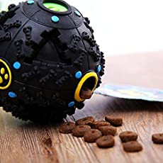 Foodie Puppies Treat Toy and Squeaky Dispenser Ball for Dogs (Black)