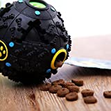 #6: Foodie Puppies Dog Treat Dispensing Toy & Squeaky Dispenser Ball for Dogs (Black)