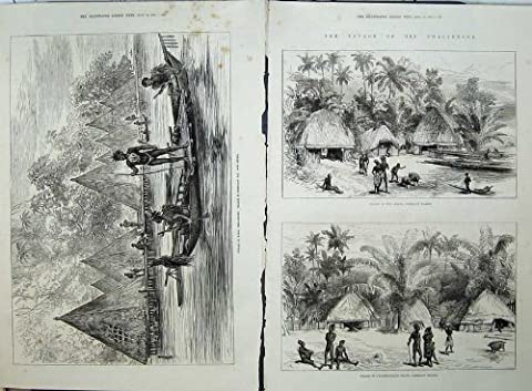 Old Original Antique Victorian Print 1875 Village Humboldt Guinea Admiralty