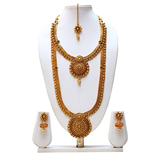 South indian green-maroon colour haram necklace set with earrings