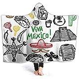 Zseeda Micropile Ultra Morbido Morbido, Messicano, Oggetto Latino Schizzo con Bottiglia di Tequila alla Chitarra Burritos e Pinata Quetzal Coati, 50 '40', Multicolore