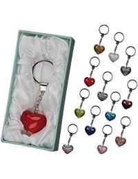 """'Porte-clés """"Coeur Verre élégant dans 12couleurs. Dans Une Jolie Boîte Cadeau. de BRUBAKER"""