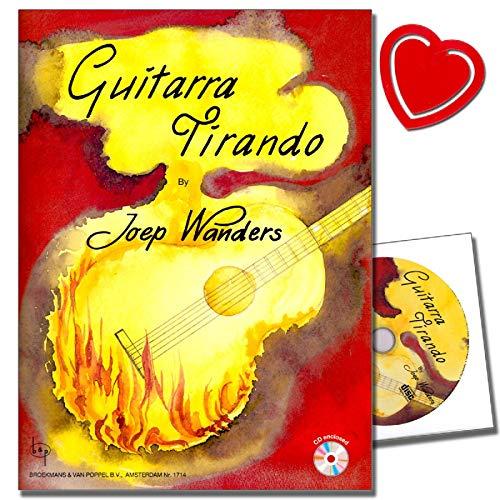 Guitarra tirando mit CD von Joep Wanders - 39 Kompositionen, in denen der tirando-Anschlag im Mittelpunkt steht - von Blues über südamerikanisch bis klassisch - mit bunter, herzförmiger Notenklammer