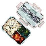 Bento Box Lunch Box, blé naturel 1000ml de sécurité LeakProof Boîte de conservation avec baguettes, cuillère pour enfants adultes, au micro-ondes, passe au lave-vaisselle,