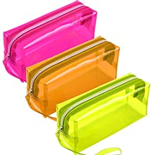Cotiny 3 Pack Clear Pencil Bag Large Capacity Pencil Cases Clear Toiletries Bag PVC Zipper Travel Luggage Pouch Make up Cosmetic Bag (Color Set 1)