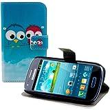 kwmobile Funda para Samsung Galaxy S3 Mini - Wallet Case plegable de cuero sintético - Cover con tapa tarjetero y soporte Diseño pájaro comic en azul rojo azul claro